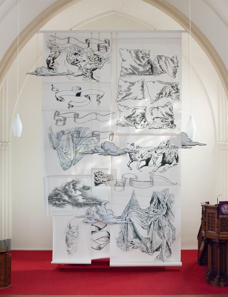 Hannah Dougherty, Altarverhüllung, 2016, Papier Collage, 900 x 540 cm